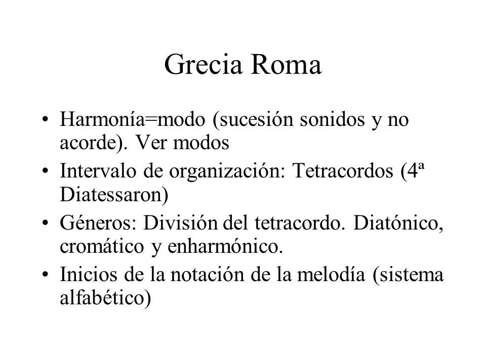 Grecia Roma Harmonía=modo (sucesión sonidos y no acorde). Ver modos