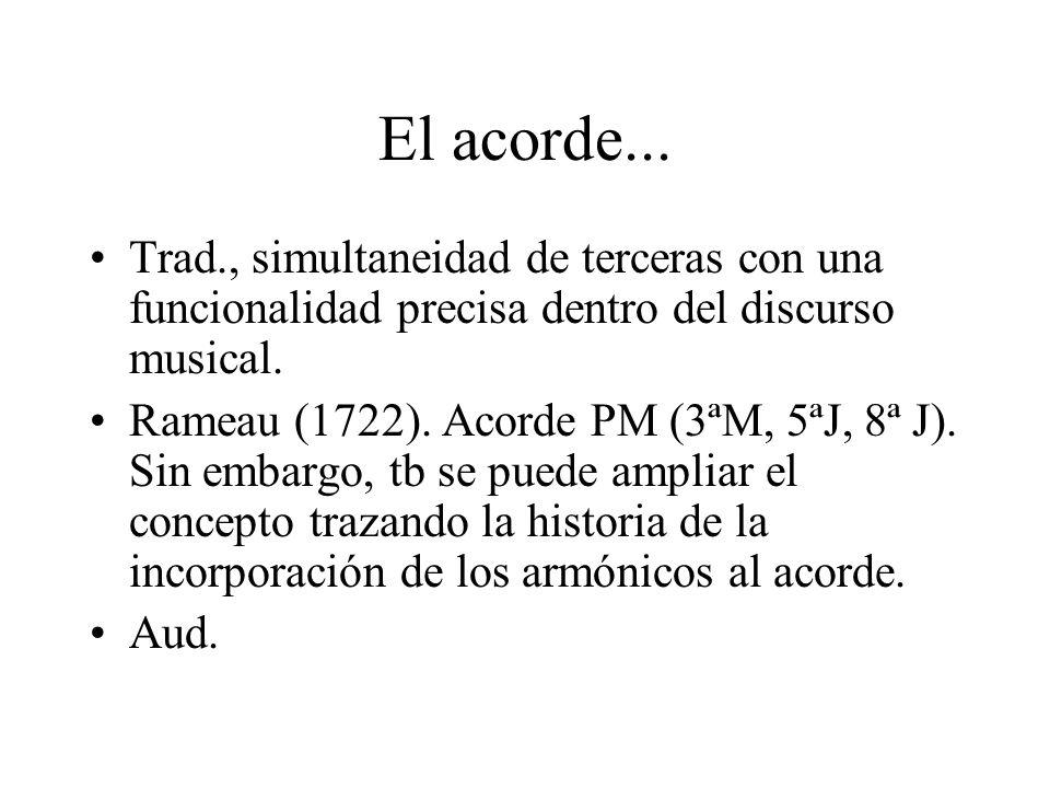 El acorde...Trad., simultaneidad de terceras con una funcionalidad precisa dentro del discurso musical.