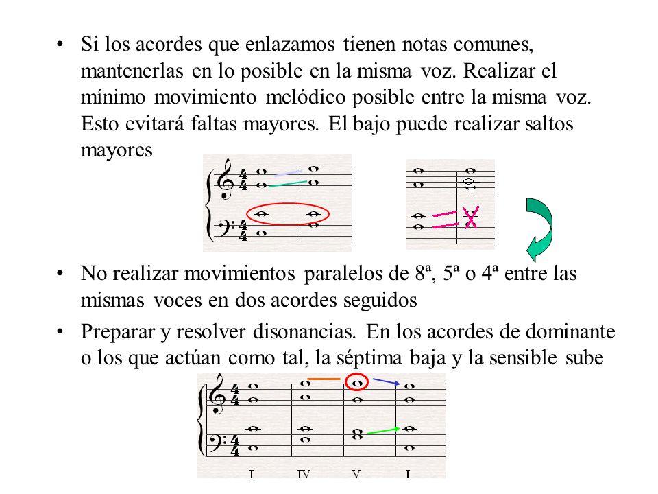 Si los acordes que enlazamos tienen notas comunes, mantenerlas en lo posible en la misma voz. Realizar el mínimo movimiento melódico posible entre la misma voz. Esto evitará faltas mayores. El bajo puede realizar saltos mayores
