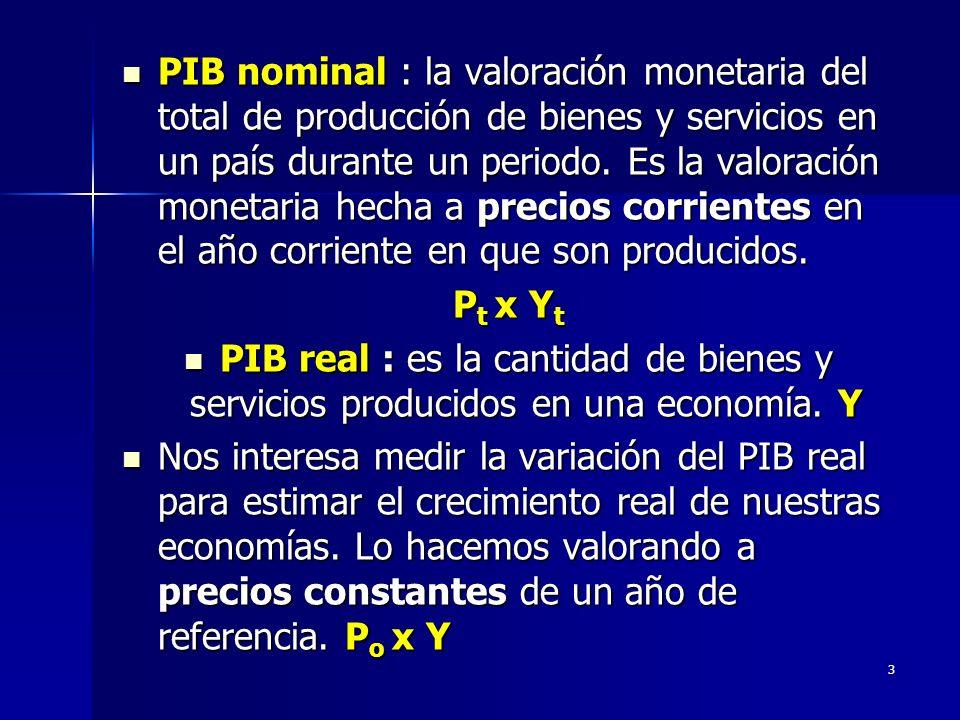 PIB nominal : la valoración monetaria del total de producción de bienes y servicios en un país durante un periodo. Es la valoración monetaria hecha a precios corrientes en el año corriente en que son producidos.