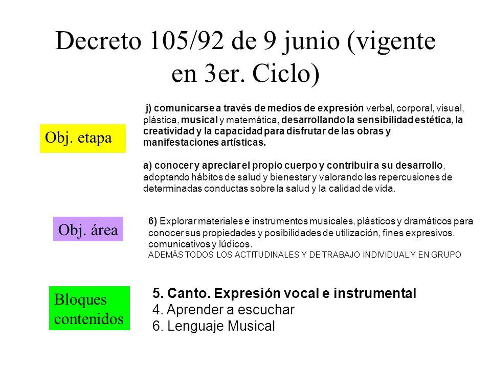 Decreto 105/92 de 9 junio (vigente en 3er. Ciclo)