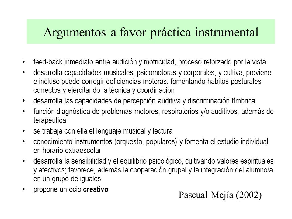 Argumentos a favor práctica instrumental