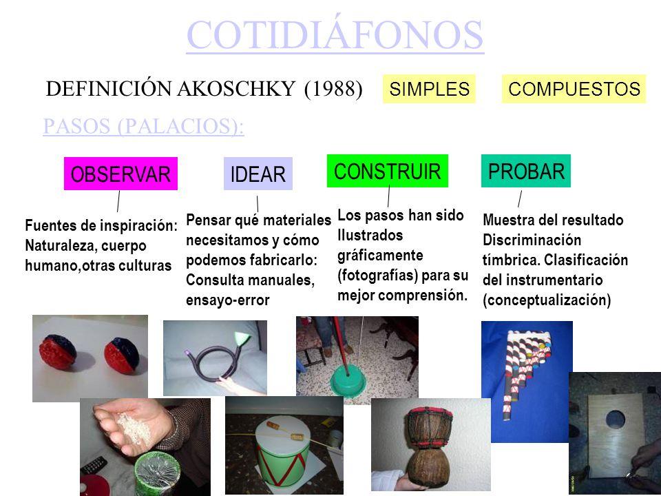 COTIDIÁFONOS DEFINICIÓN AKOSCHKY (1988) PASOS (PALACIOS): OBSERVAR