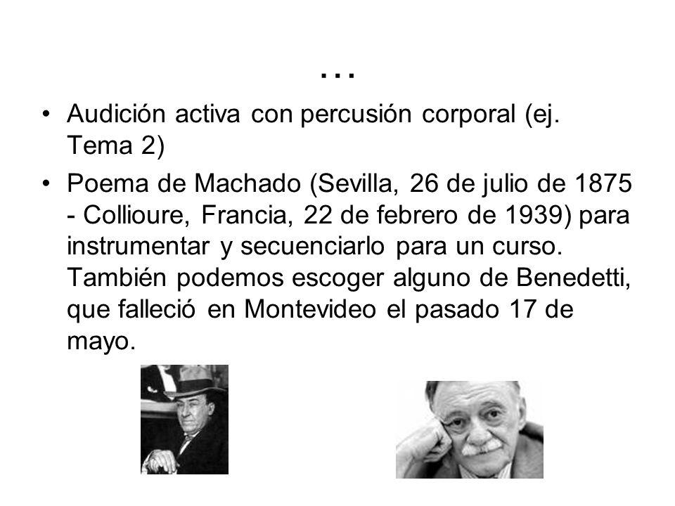 … Audición activa con percusión corporal (ej. Tema 2)