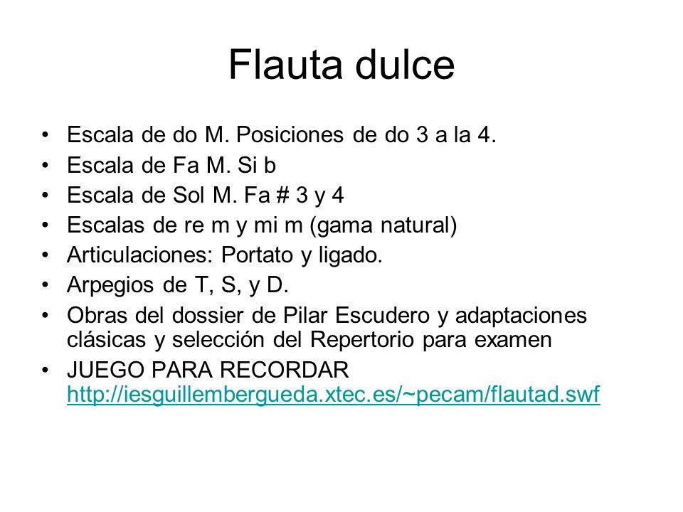 Flauta dulce Escala de do M. Posiciones de do 3 a la 4.
