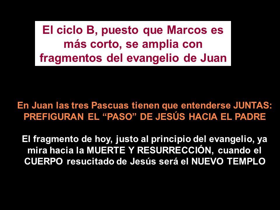 El ciclo B, puesto que Marcos es más corto, se amplia con fragmentos del evangelio de Juan