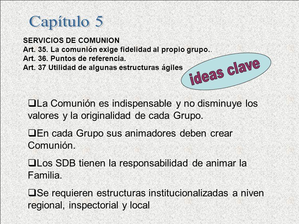 Capítulo 5 SERVICIOS DE COMUNION. Art. 35. La comunión exige fidelidad al propio grupo.. Art. 36. Puntos de referencia.