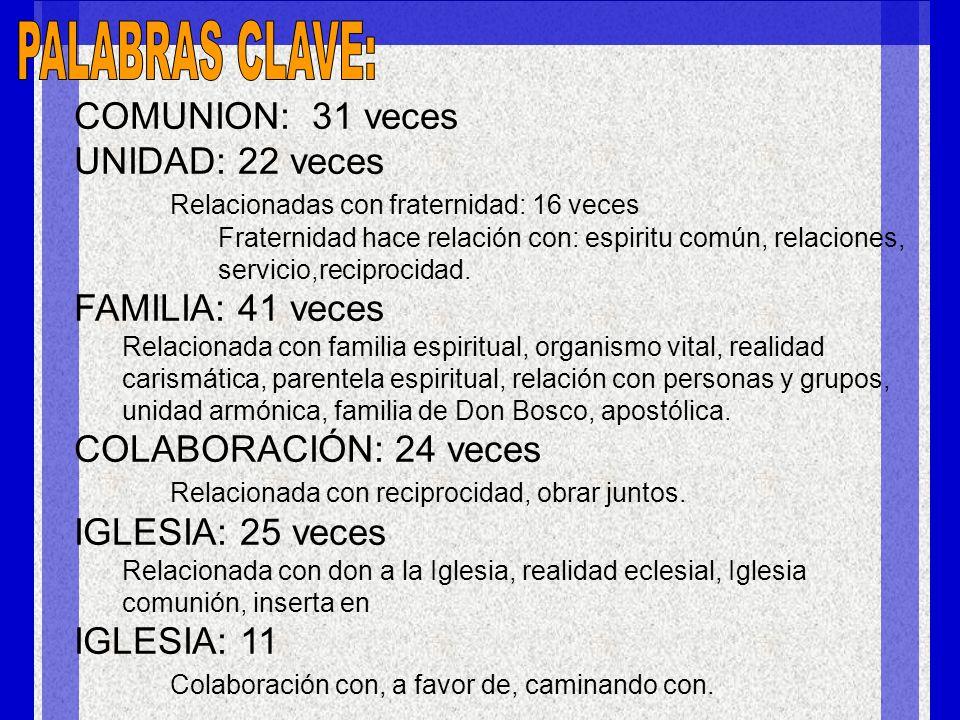 PALABRAS CLAVE: COMUNION: 31 veces UNIDAD: 22 veces FAMILIA: 41 veces