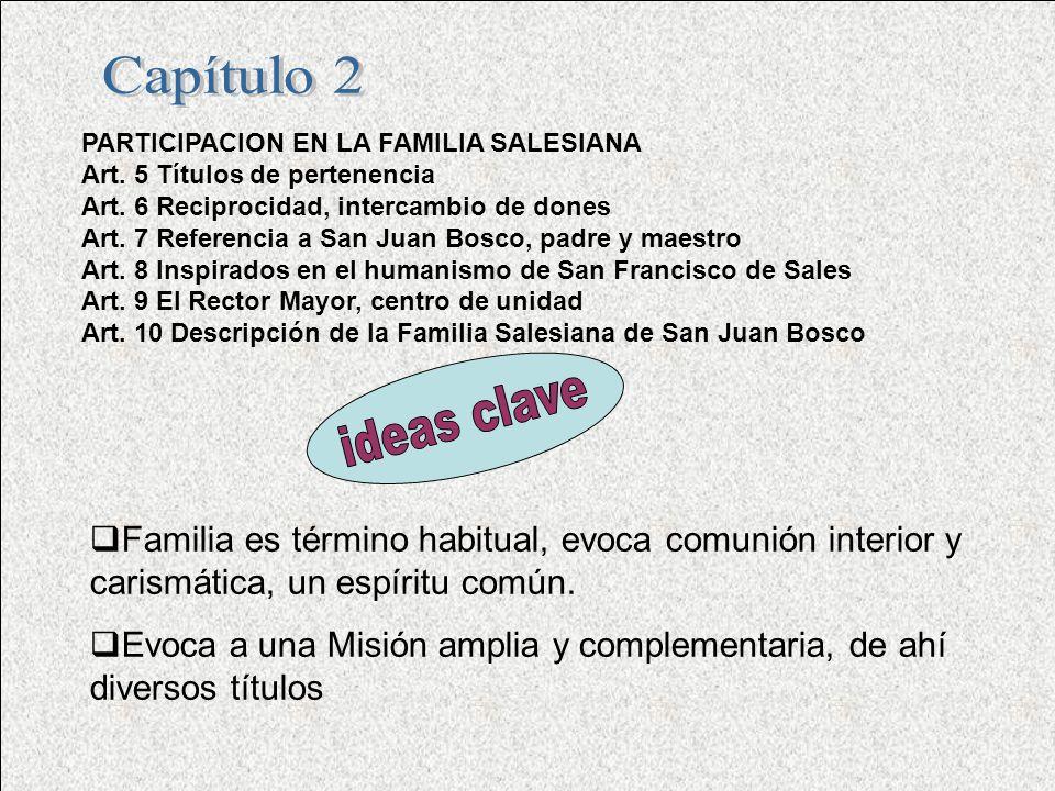Capítulo 2 PARTICIPACION EN LA FAMILIA SALESIANA. Art. 5 Títulos de pertenencia. Art. 6 Reciprocidad, intercambio de dones.