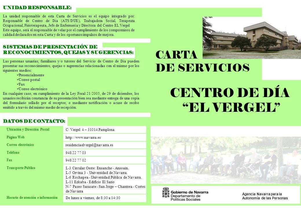 CENTRO DE DÍA EL VERGEL CARTA DE SERVICIOS UNIDAD RESPONSABLE: