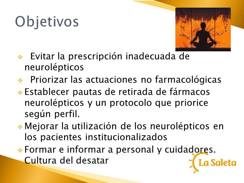Objetivos Evitar la prescripción inadecuada de neurolépticos