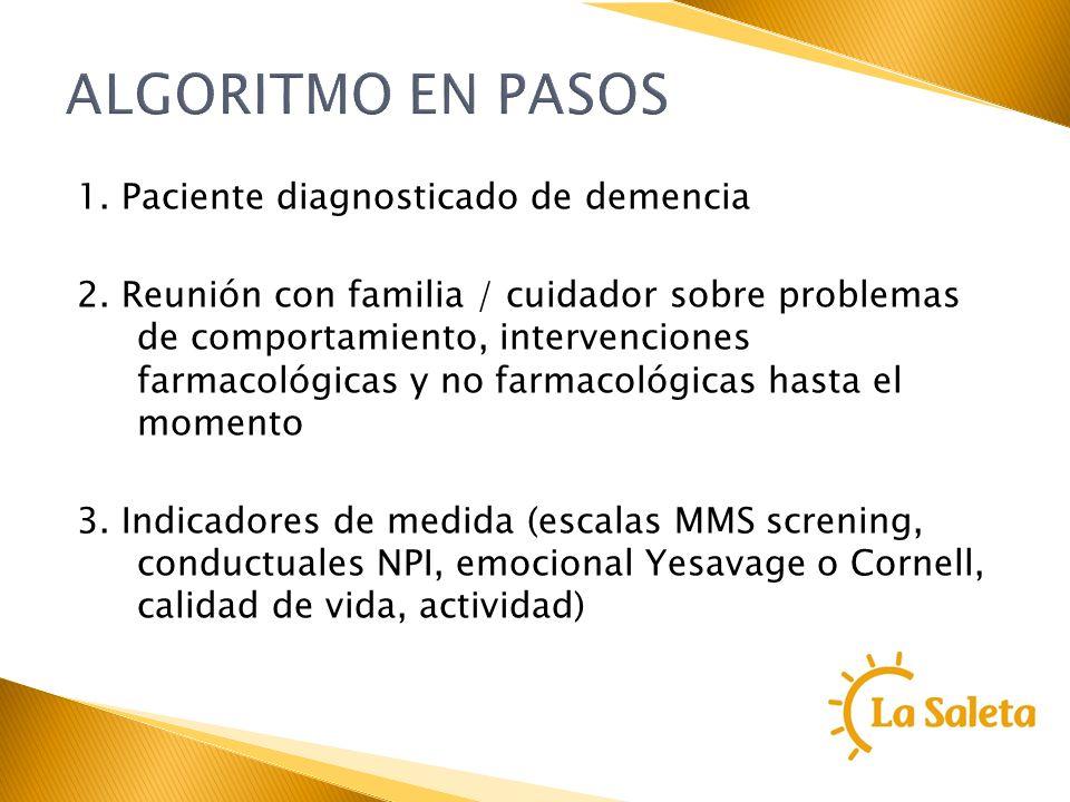 ALGORITMO EN PASOS 1. Paciente diagnosticado de demencia