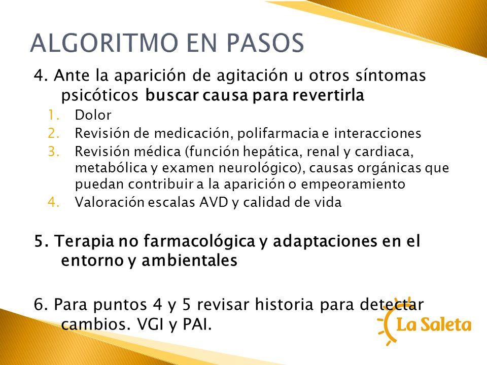 ALGORITMO EN PASOS4. Ante la aparición de agitación u otros síntomas psicóticos buscar causa para revertirla.