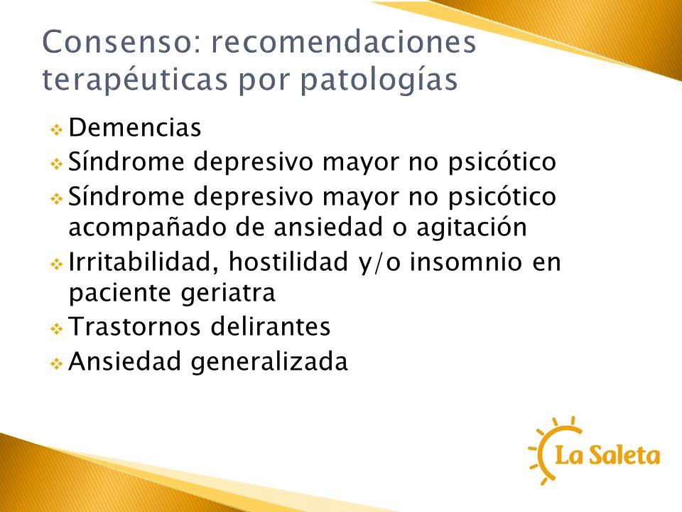 Consenso: recomendaciones terapéuticas por patologías