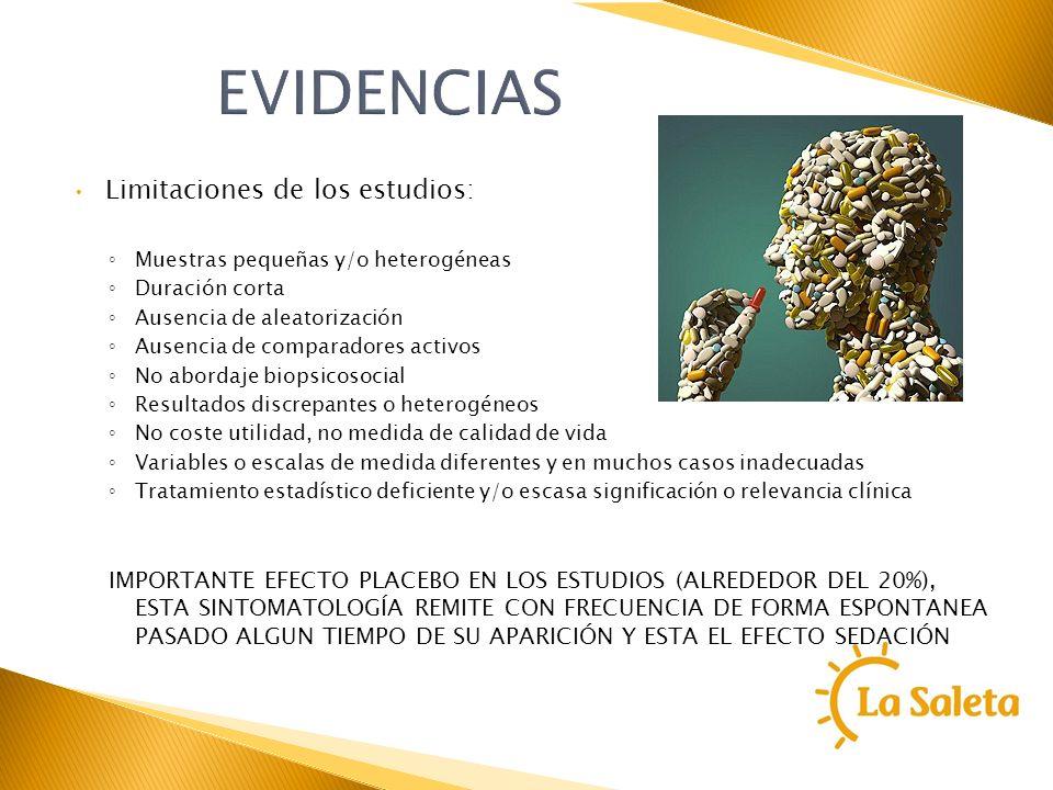 EVIDENCIAS Limitaciones de los estudios: