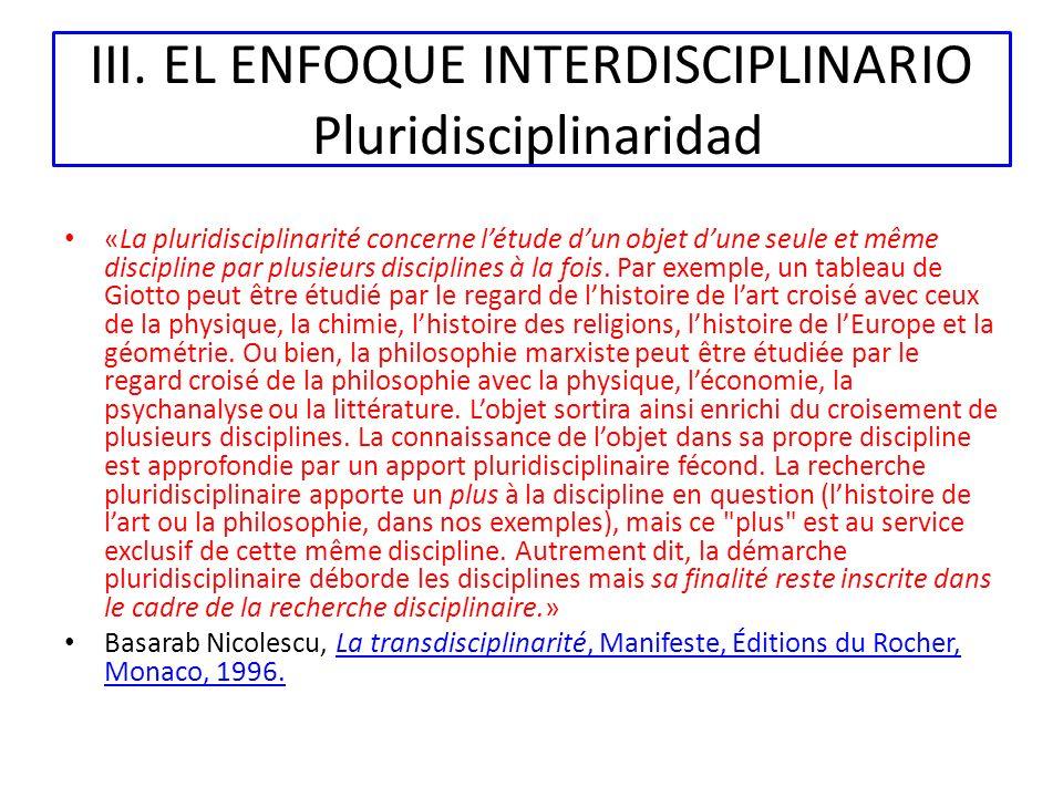 III. EL ENFOQUE INTERDISCIPLINARIO Pluridisciplinaridad