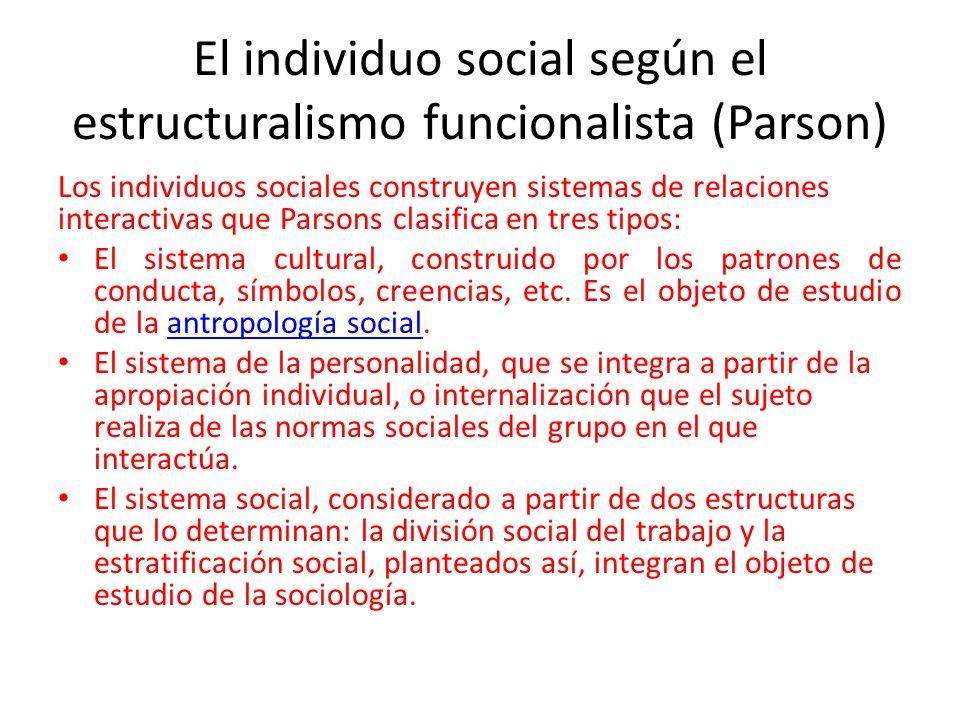 El individuo social según el estructuralismo funcionalista (Parson)