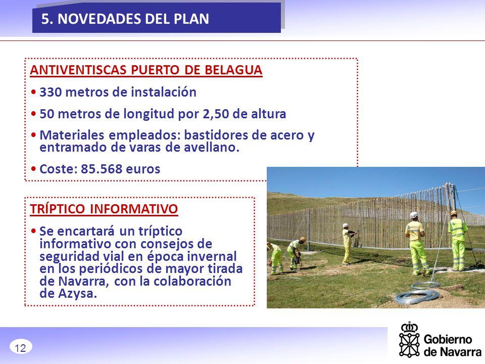 5. NOVEDADES DEL PLAN NOVEDADES ANTIVENTISCAS PUERTO DE BELAGUA