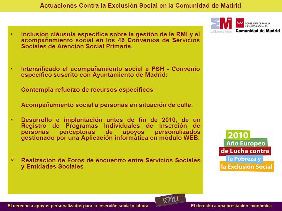 Inclusión cláusula especifica sobre la gestión de la RMI y el acompañamiento social en los 46 Convenios de Servicios Sociales de Atención Social Primaria.