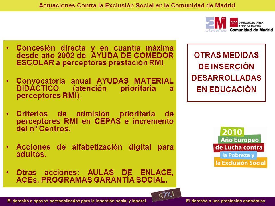 OTRAS MEDIDAS DE INSERCIÓN DESARROLLADAS EN EDUCACIÓN