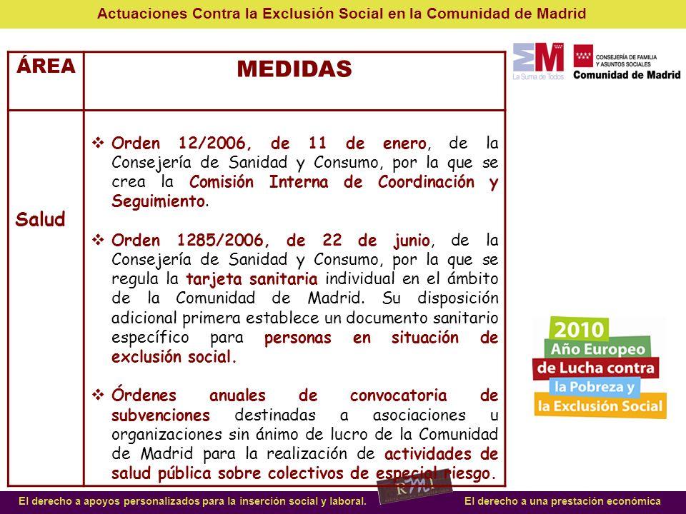MEDIDAS ÁREA Salud SANIDAD: