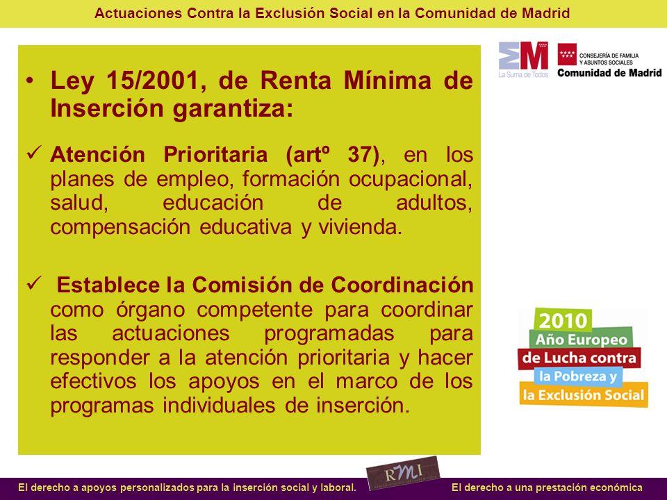 Ley 15/2001, de Renta Mínima de Inserción garantiza:
