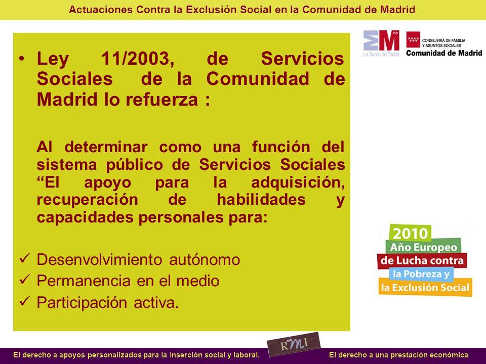 Ley 11/2003, de Servicios Sociales de la Comunidad de Madrid lo refuerza :
