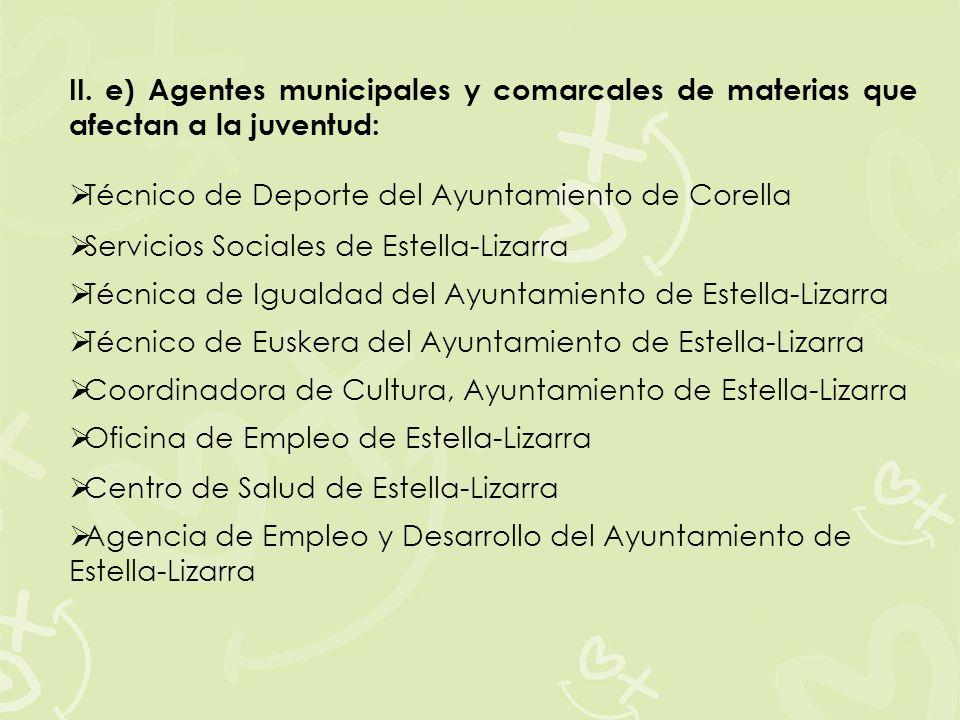 II. e) Agentes municipales y comarcales de materias que afectan a la juventud: