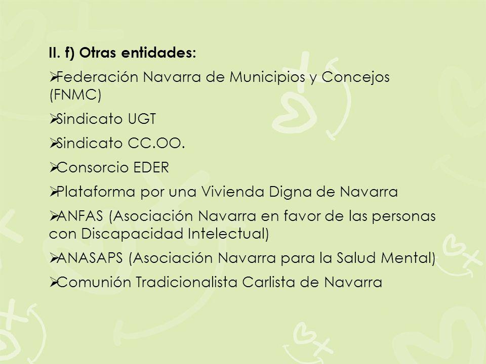 II. f) Otras entidades:Federación Navarra de Municipios y Concejos (FNMC) Sindicato UGT. Sindicato CC.OO.