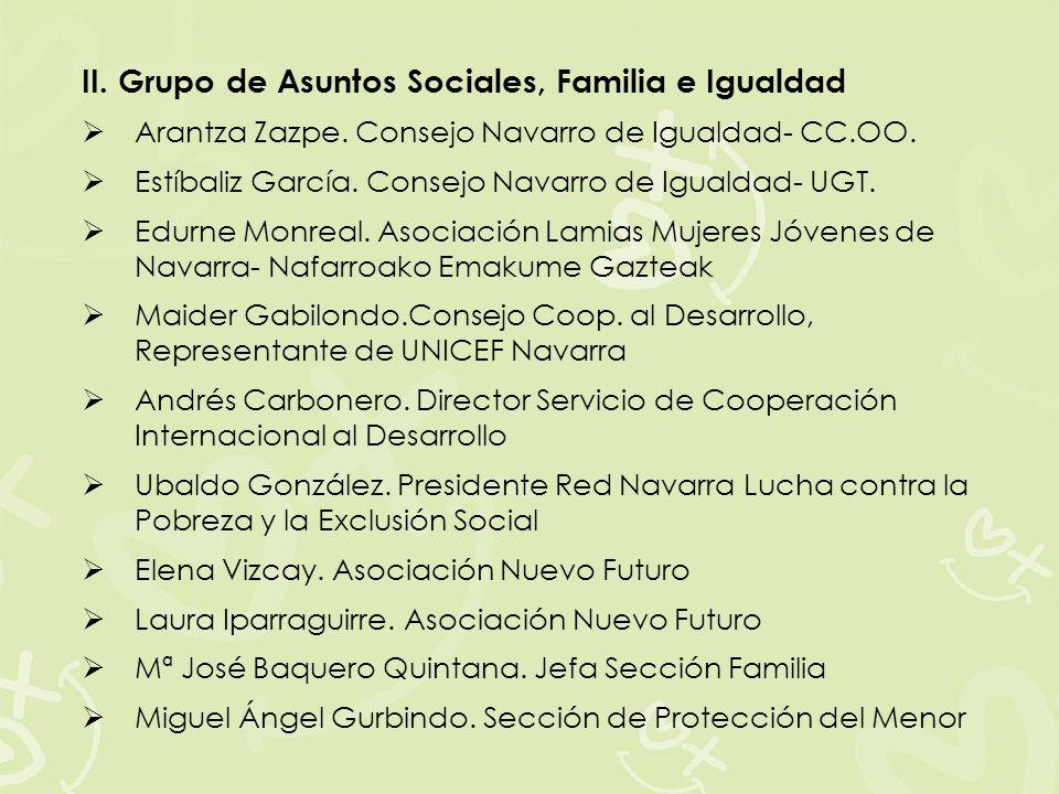 II. Grupo de Asuntos Sociales, Familia e Igualdad