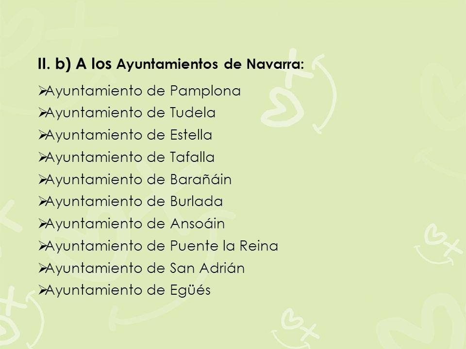 II. b) A los Ayuntamientos de Navarra: