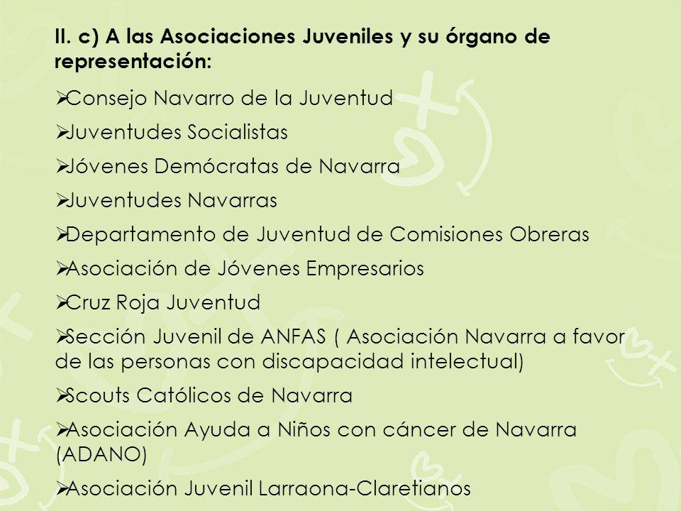 II. c) A las Asociaciones Juveniles y su órgano de representación: