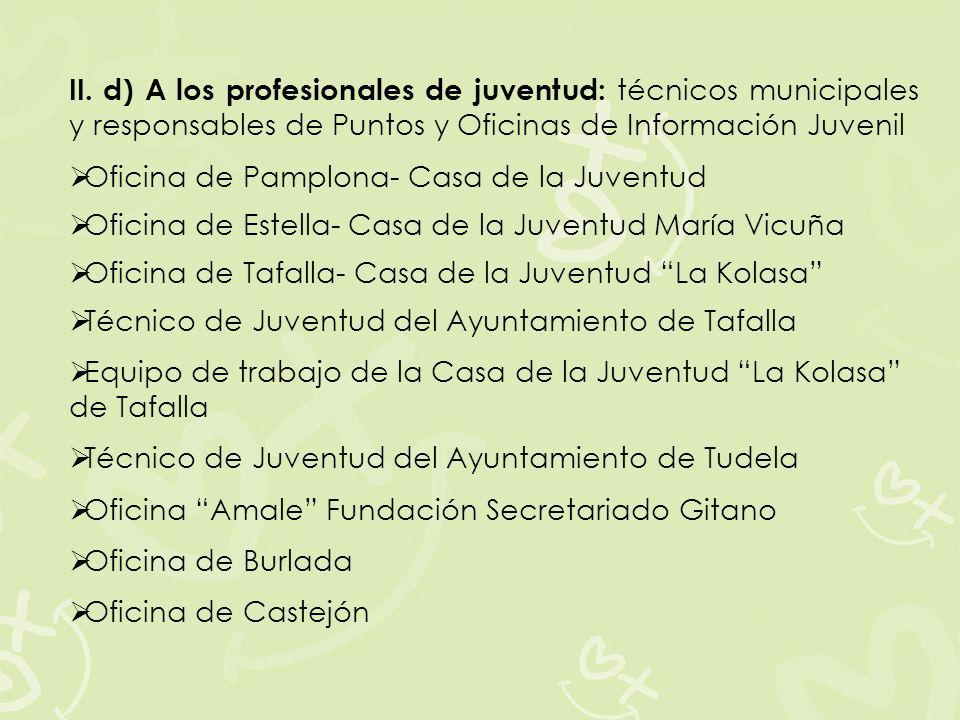 II. d) A los profesionales de juventud: técnicos municipales y responsables de Puntos y Oficinas de Información Juvenil