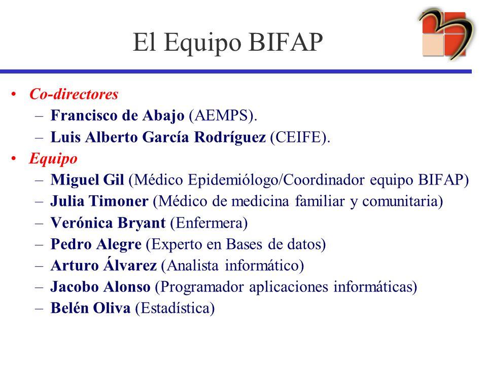 El Equipo BIFAP Co-directores Francisco de Abajo (AEMPS).