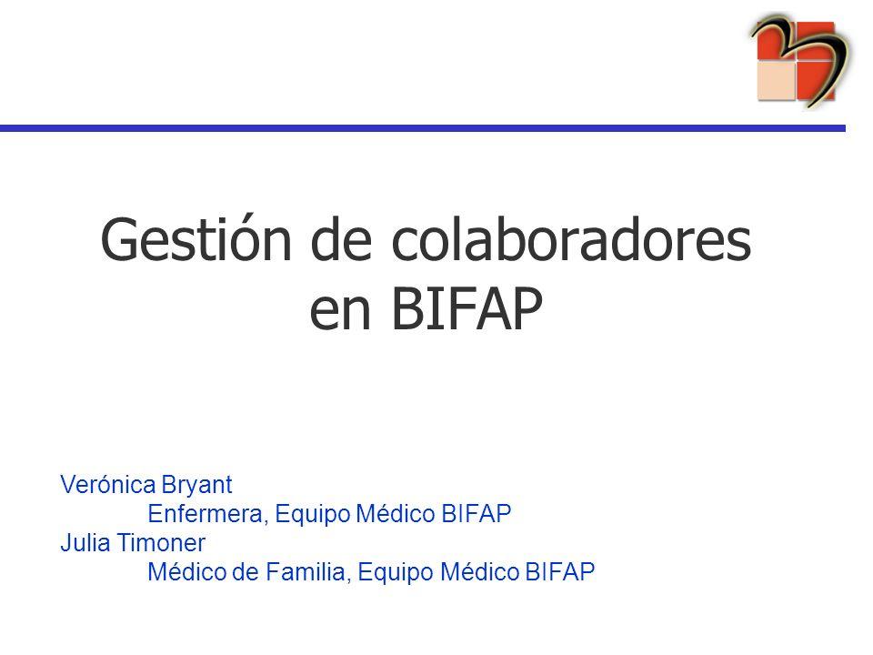 Gestión de colaboradores en BIFAP