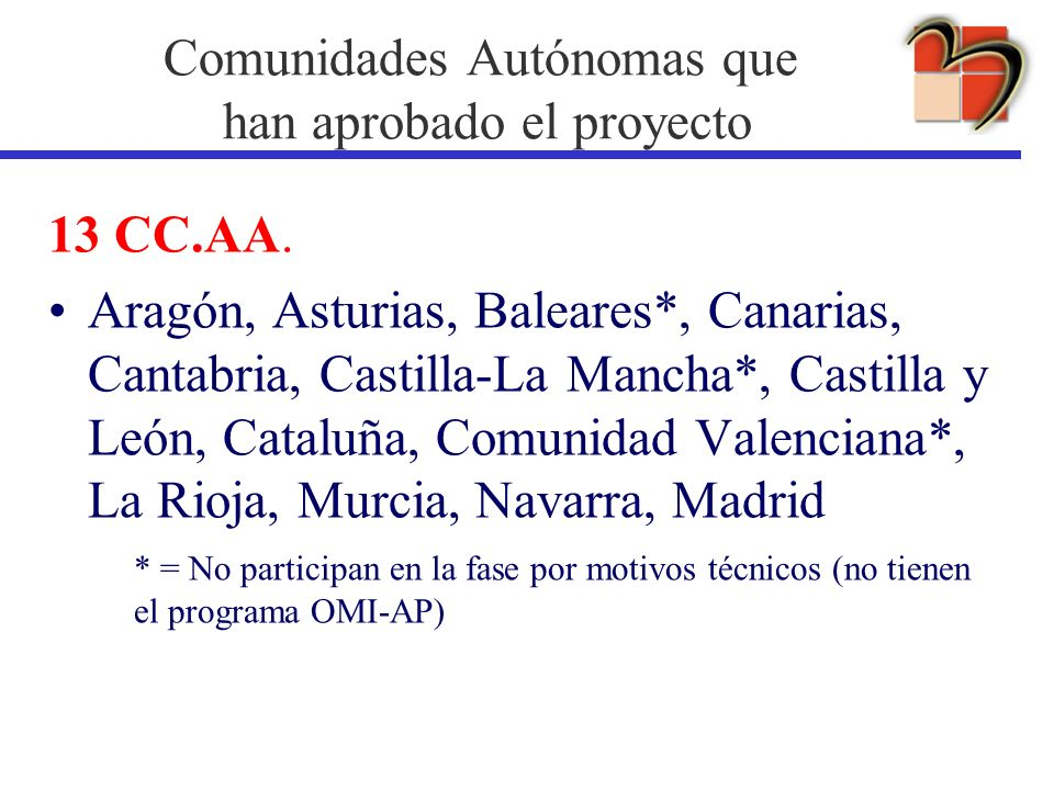 Comunidades Autónomas que han aprobado el proyecto