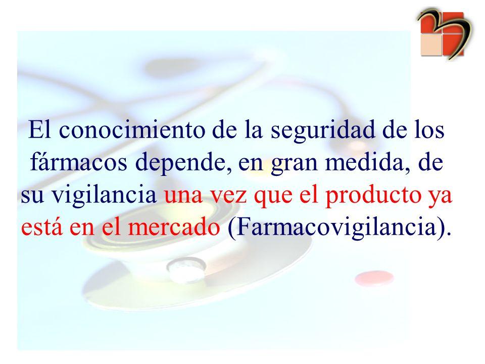 El conocimiento de la seguridad de los fármacos depende, en gran medida, de su vigilancia una vez que el producto ya está en el mercado (Farmacovigilancia).