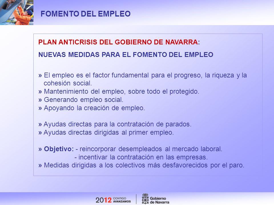 FOMENTO DEL EMPLEO PLAN ANTICRISIS DEL GOBIERNO DE NAVARRA:
