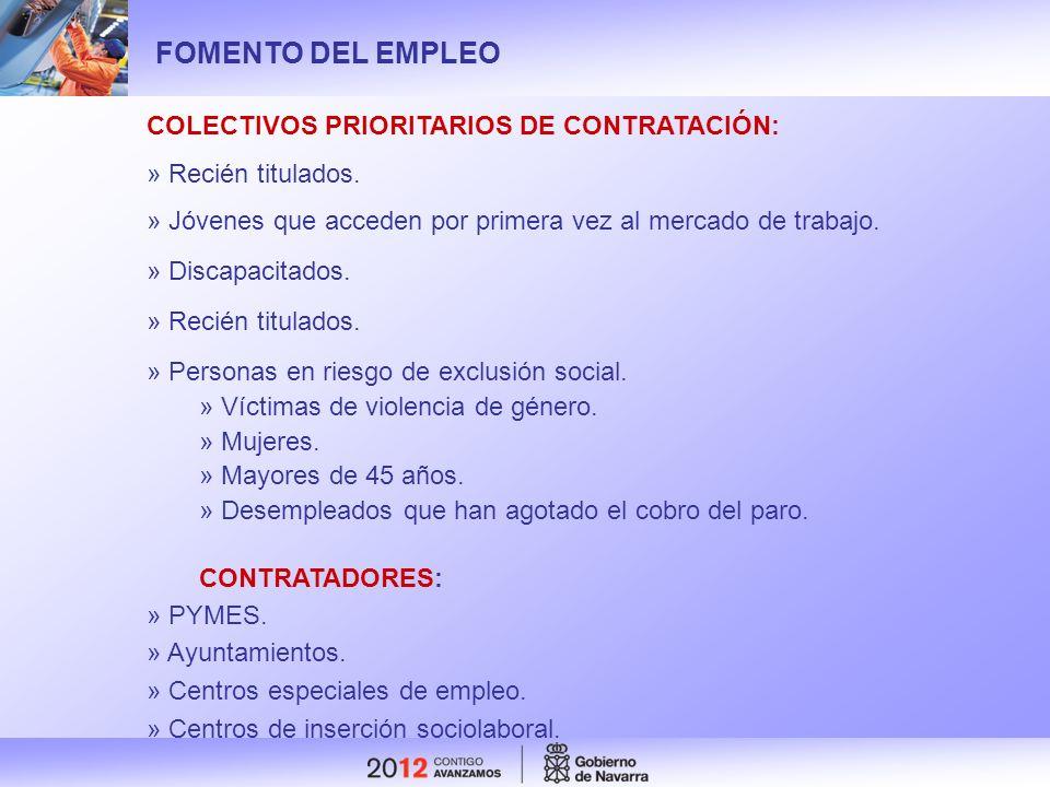 FOMENTO DEL EMPLEO COLECTIVOS PRIORITARIOS DE CONTRATACIÓN:
