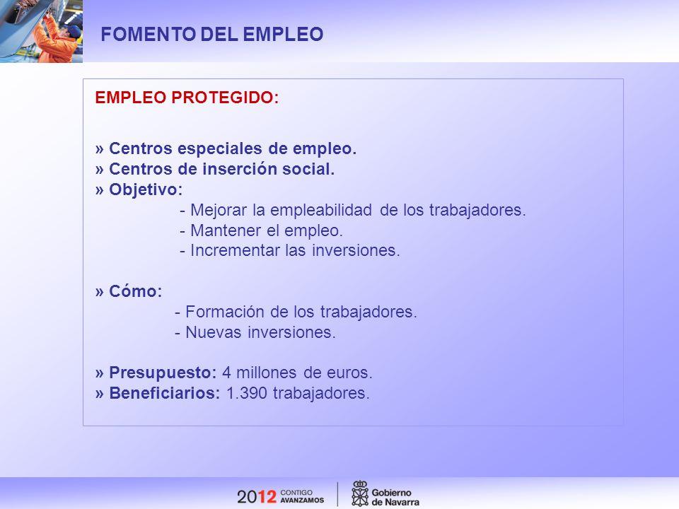 FOMENTO DEL EMPLEO EMPLEO PROTEGIDO: » Centros especiales de empleo.