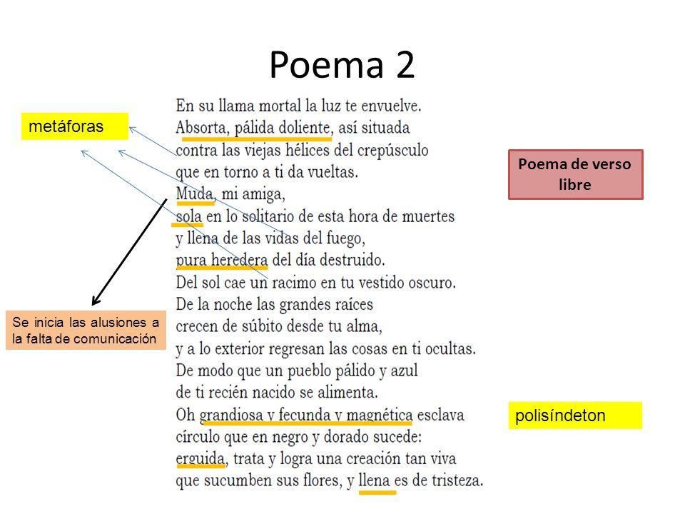 Poema 2 metáforas Poema de verso libre polisíndeton