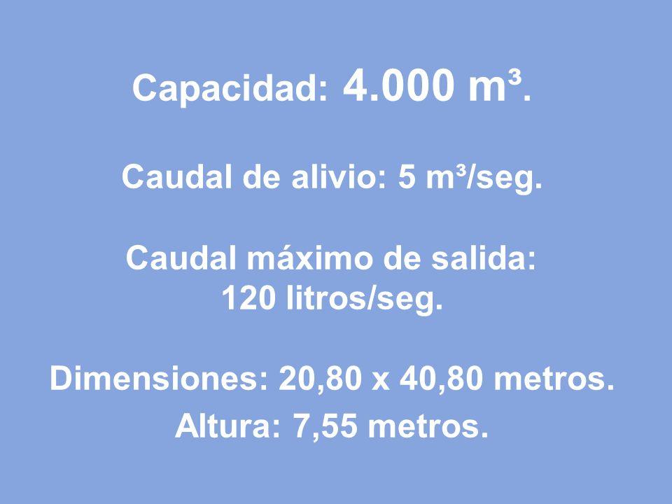 Capacidad: 4. 000 m³. Caudal de alivio: 5 m³/seg