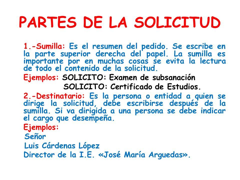 PARTES DE LA SOLICITUD Ejemplos: SOLICITO: Examen de subsanación