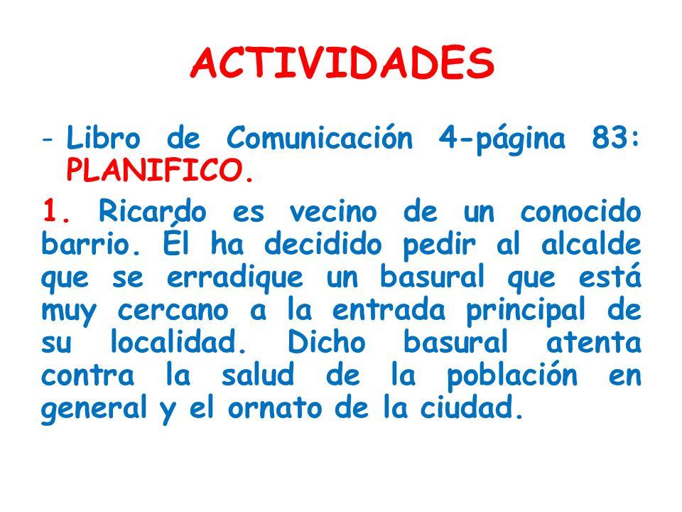 ACTIVIDADES Libro de Comunicación 4-página 83: PLANIFICO.