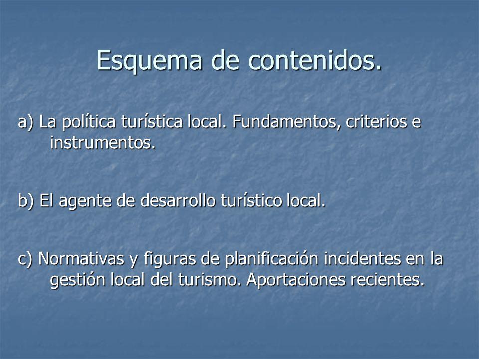 Esquema de contenidos. a) La política turística local. Fundamentos, criterios e instrumentos. b) El agente de desarrollo turístico local.