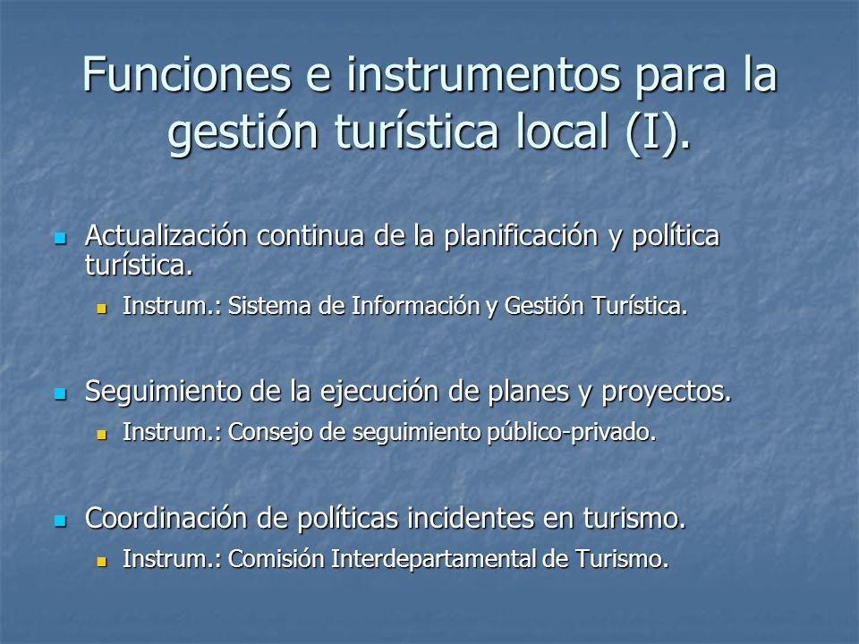 Funciones e instrumentos para la gestión turística local (I).