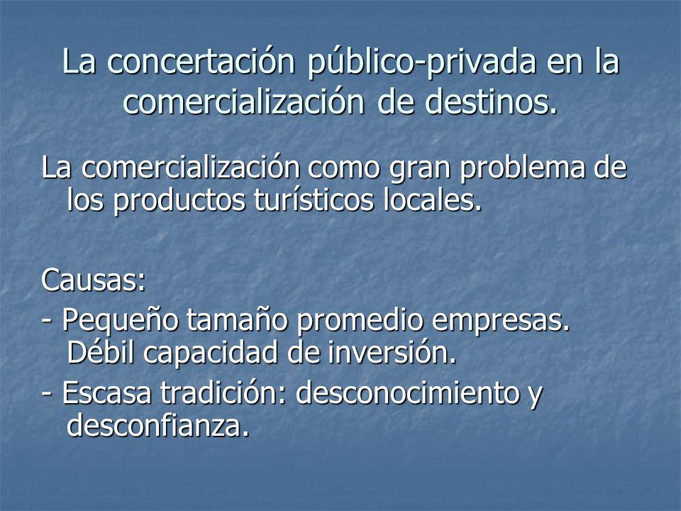 La concertación público-privada en la comercialización de destinos.