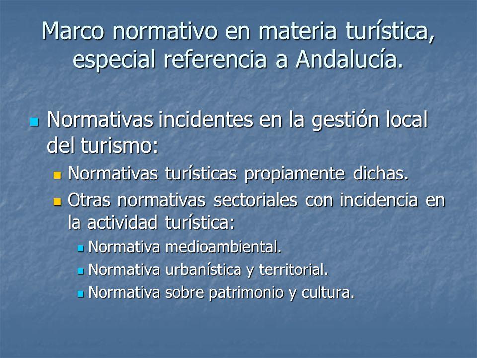 Marco normativo en materia turística, especial referencia a Andalucía.