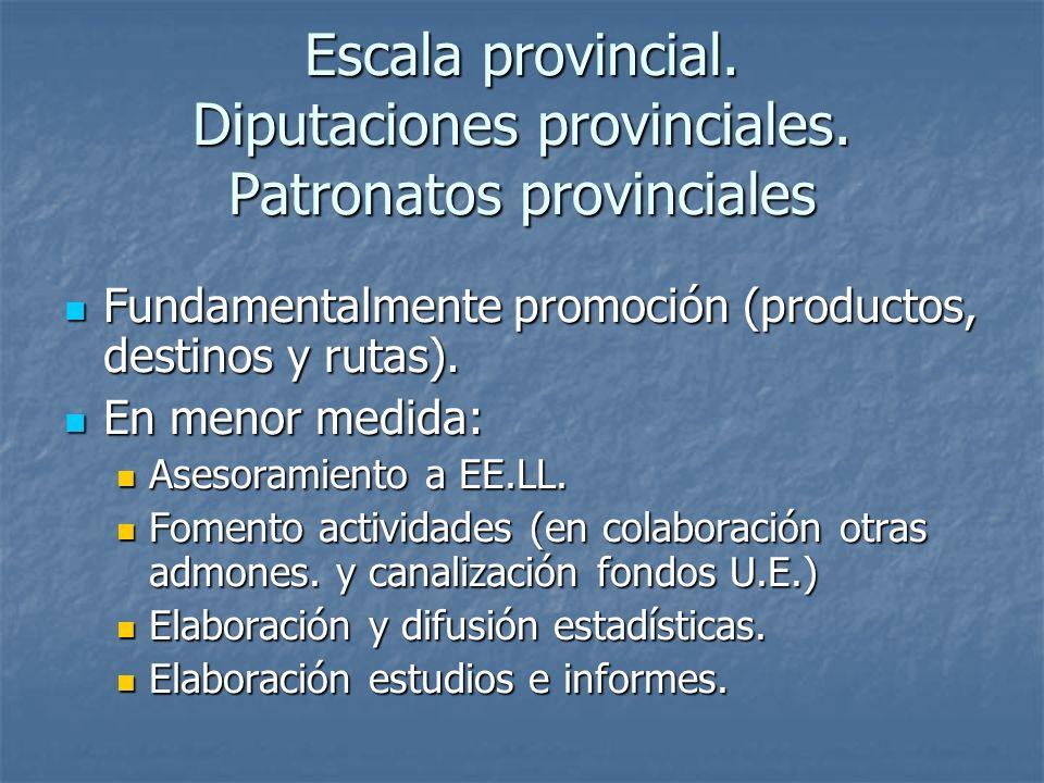 Escala provincial. Diputaciones provinciales. Patronatos provinciales