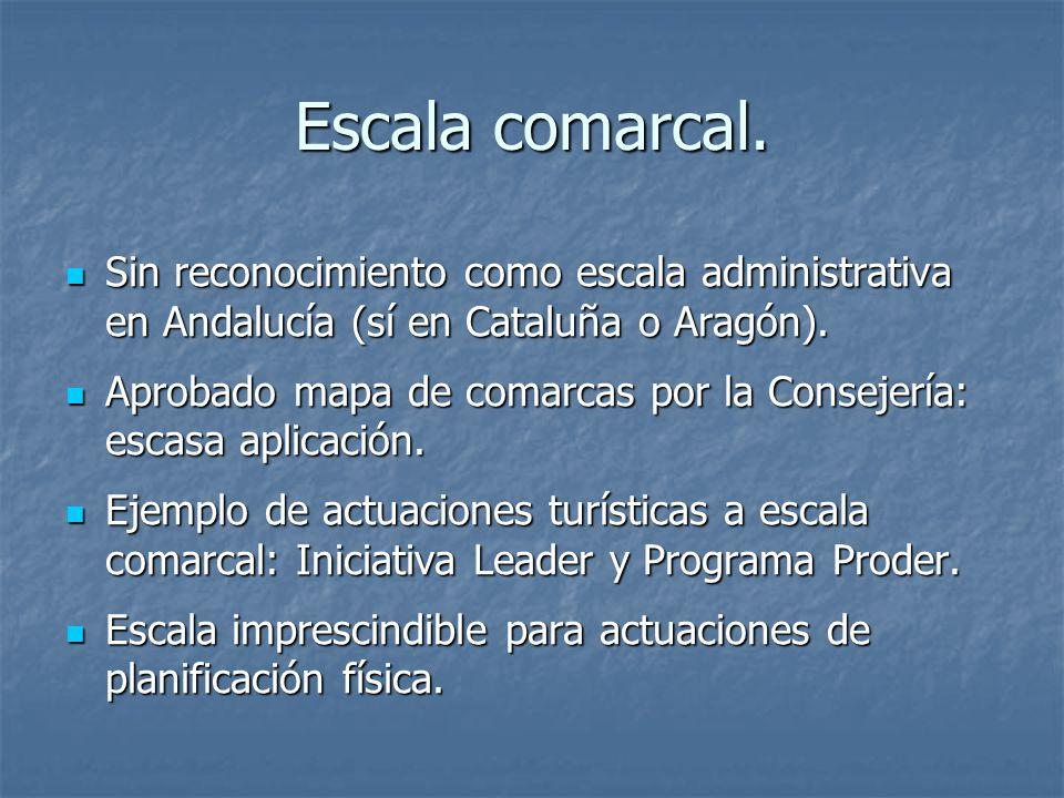 Escala comarcal. Sin reconocimiento como escala administrativa en Andalucía (sí en Cataluña o Aragón).